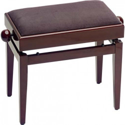 Banquette Piano avec porte partition Stagg PB55 acajou brillant pelotte velours brun
