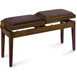 Banquette de piano double assise Stagg PB245 noyer mat pelotte velours brun