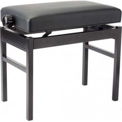 Banquette piano métal noir type ''Chesterfield'' Stagg PB43 pelotte skai noir
