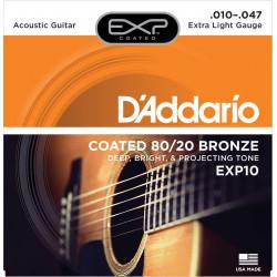 D'Addario EXP10 Extra Light - Jeu de cordes pour guitare acoustique