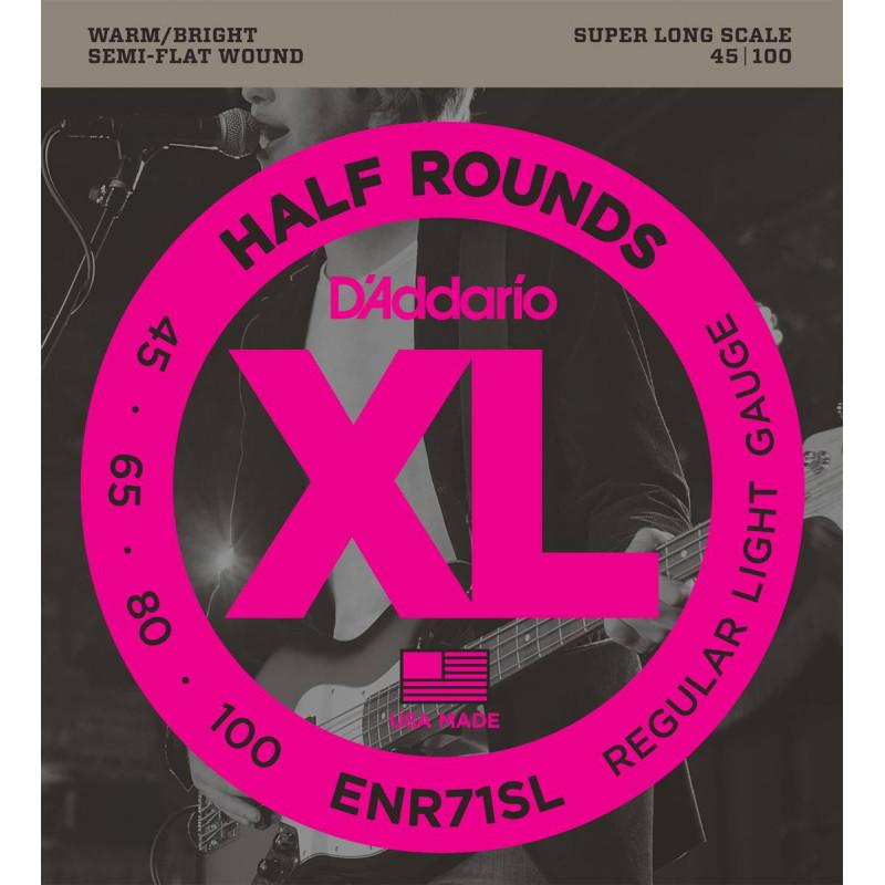 D'addario ENR71SL - Jeu de cordes filet plat ½ rond basse électrique - diapason extra long
