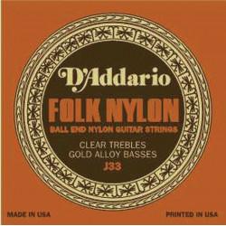 Jeu de cordes pour guitare classique D'Addario Nylon boules clair/cuivre - J33