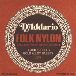 Jeu de cordes pour guitare classique D'Addario Nylon boules noir/cuivre - J34