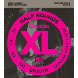 D'addario ENR71M Half Rounds medium - Jeu de cordes filet plat ½ rond basse électrique