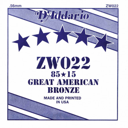 D'Addario ZW022 - Corde au détail 022 Bronze guitare acoustique