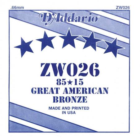 Corde au détail D'Addario pour guitare acoustique 026 85/15 Bronze - ZW026