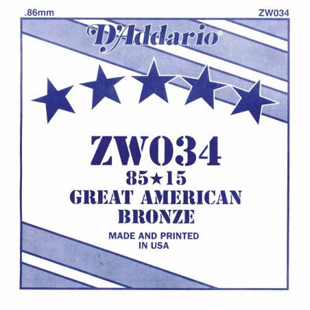 Corde au détail D'Addario pour guitare acoustique 034 85/15 Bronze - ZW034