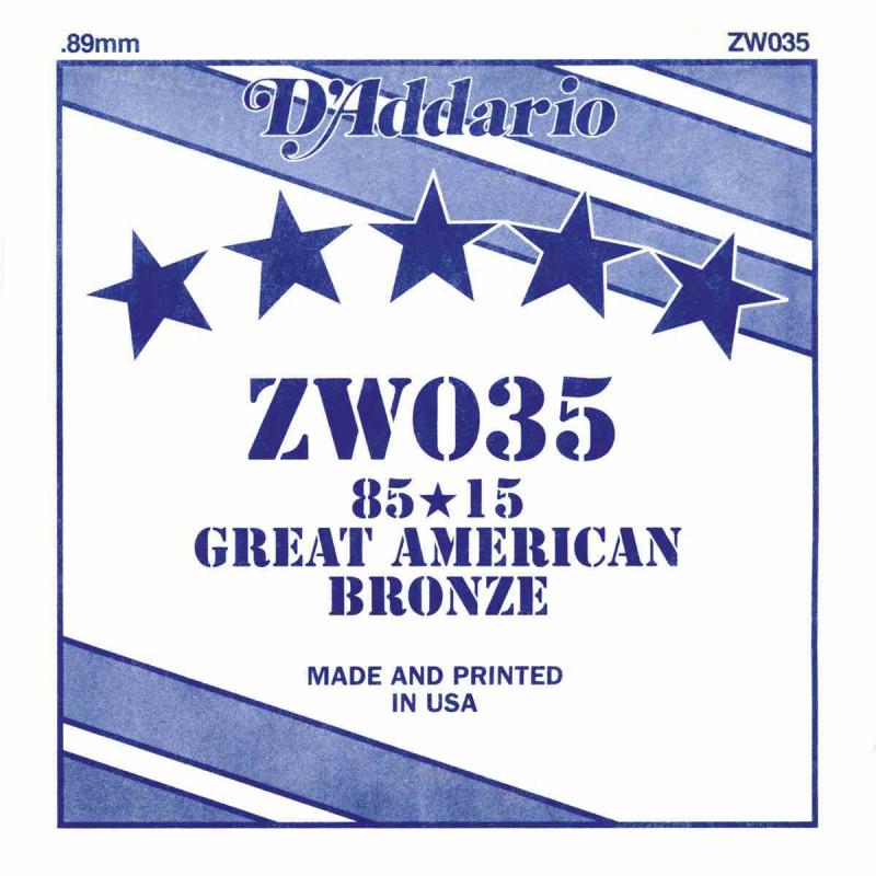 Corde au détail D'Addario pour guitare acoustique 035 85/15 Bronze - ZW035