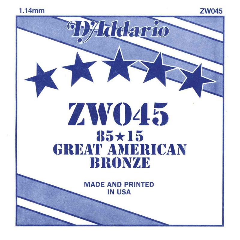Corde au détail D'Addario pour guitare acoustique 045 85/15 Bronze - ZW045