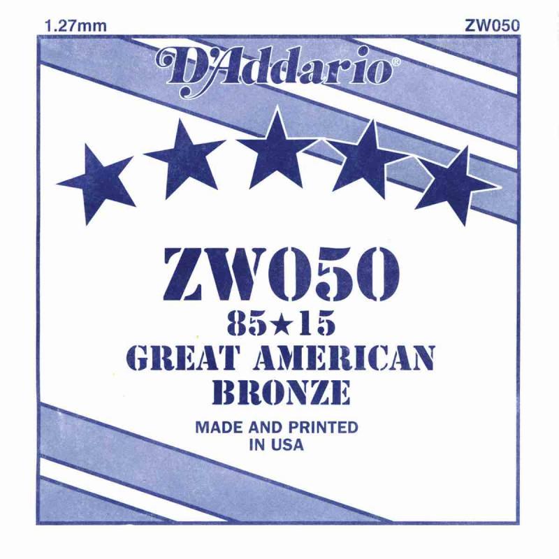 Corde au détail D'Addario pour guitare acoustique 050 85/15 Bronze - ZW050