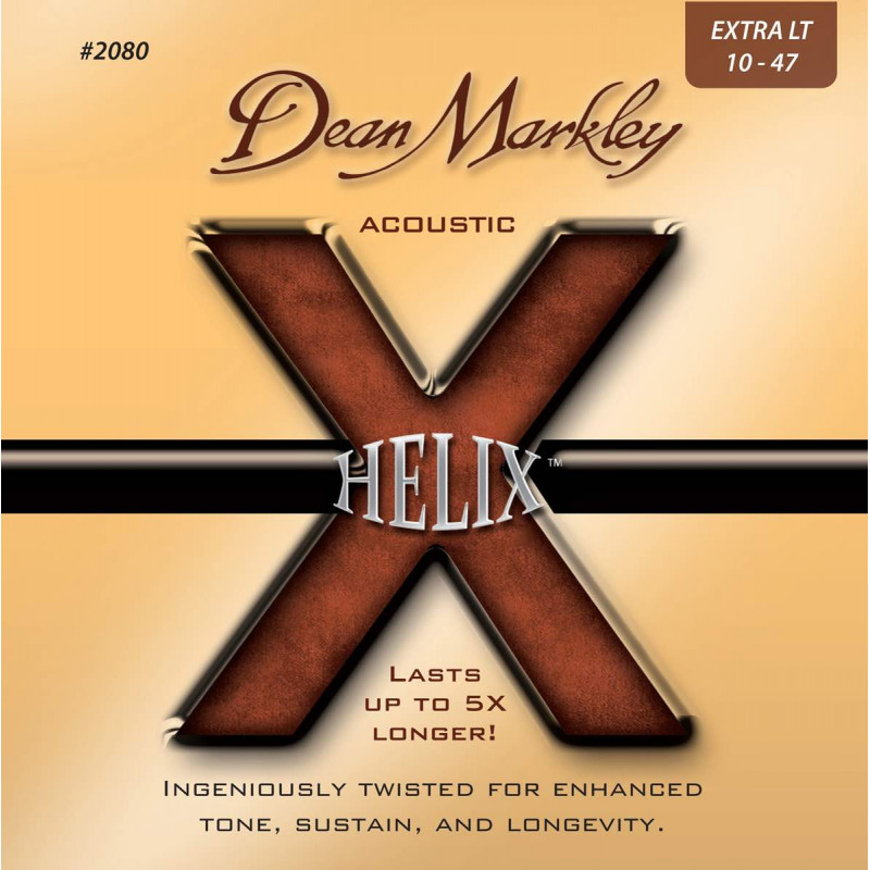Jeu de cordes guitare acoustique - Dean Markley Helix HD Extra Light 2080