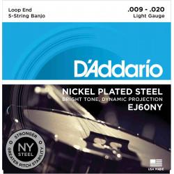 D'Addario EJ60NY Light 9-20 - Jeu de cordes Banjo 5 cordes