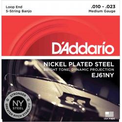 D'Addario EJ61NY Medium 10-23 - Jeu de cordes Banjo 5 cordes NY steel