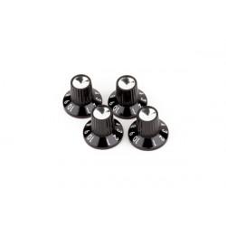 4 boutons ampli Fender Push-On à jupe noire/argentée