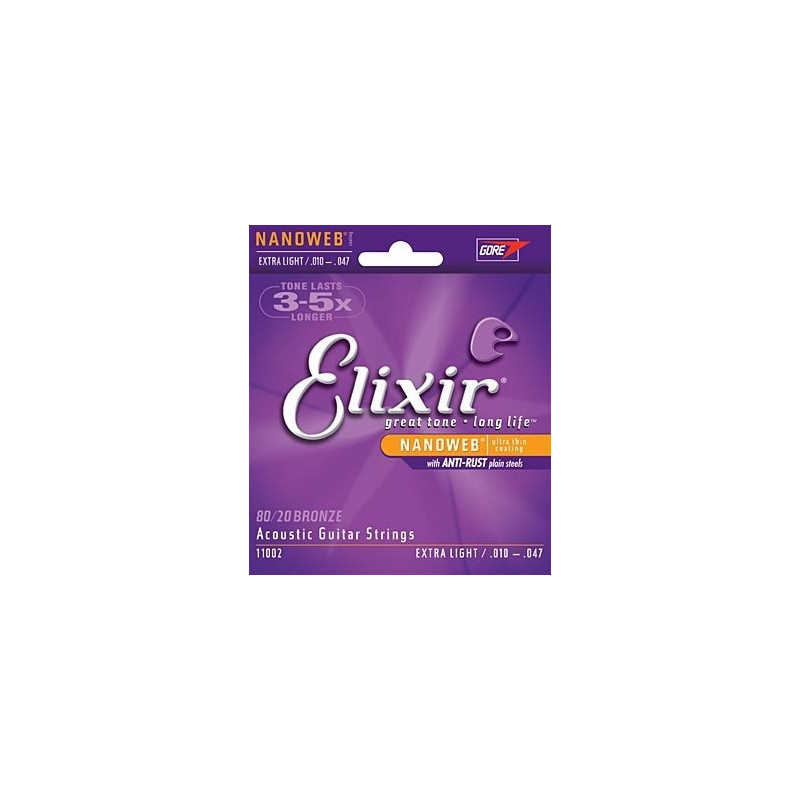 Elixir Nanoweb 11027 Custom Light 11-52 - Jeu de cordes Guitare acoustique
