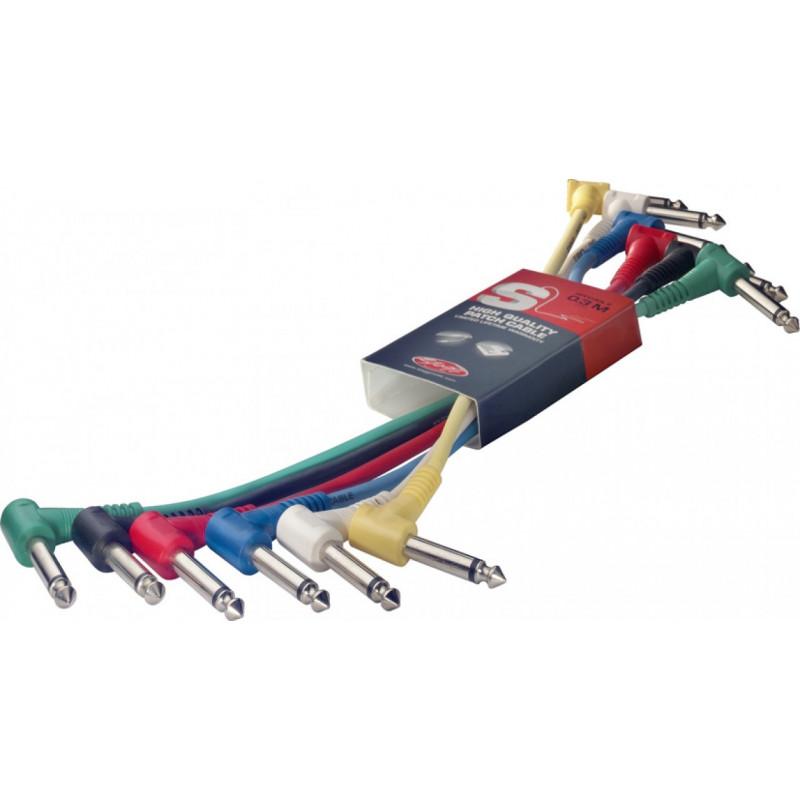 6 câbles coudés Jack mono 60 cm Stagg SPC060L E