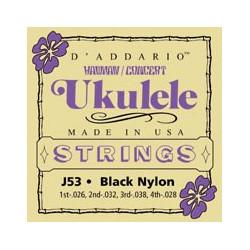 D'Addario J53 Black Nylon - Jeu de cordes Ukulélé concert