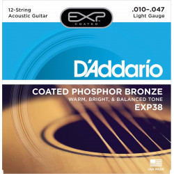 D'Addario EXP38 Light 10-47 9-47 - Jeu de 12 cordes Guitare acoustique