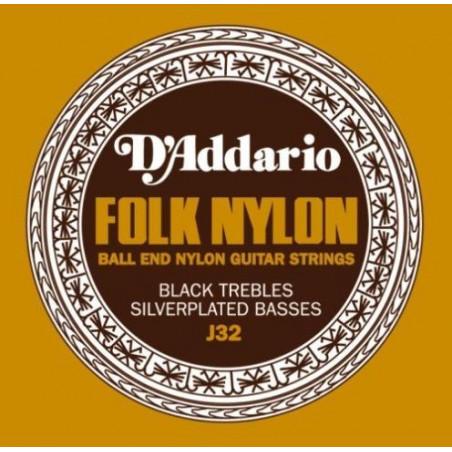Jeu de cordes pour guitare classique D'Addario Nylon boules noir/argent - J32