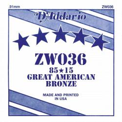 Corde au détail D'Addario pour guitare acoustique 036 85/15 Bronze - ZW036