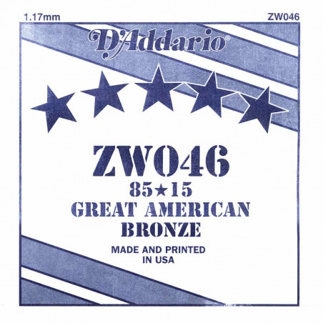 Corde au détail D'Addario pour guitare acoustique 046 85/15 Bronze - ZW046