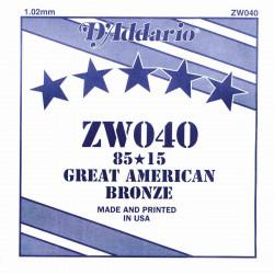 Corde au détail D'Addario pour guitare acoustique 040 85/15 Bronze - ZW040