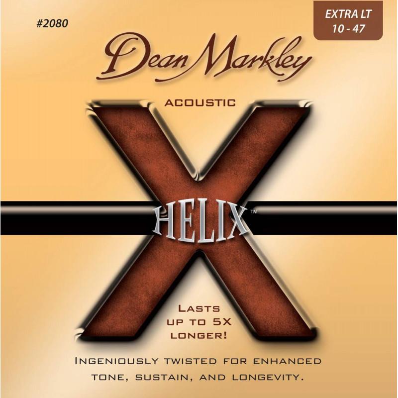 Jeu de cordes guitare acoustique - Dean Markley Helix HD Extra Light 2080