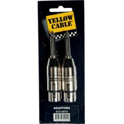 2 Adaptateurs XLR femelle - jack mâle mono 6,35 - Yellow câble AD13